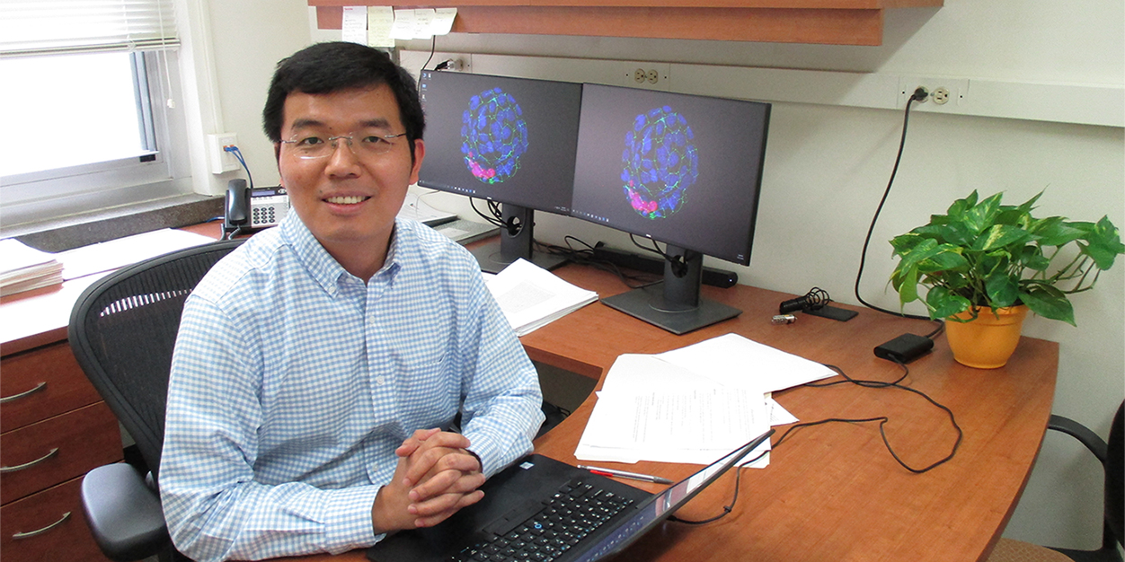 Assistant Professor Hao Chang, PhD, in his office in the Medical Science Center.